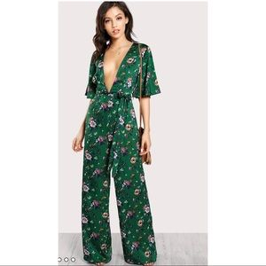 441aecad03d1 Pants - Plunge Neck Self Belted Palazzo Jumpsuit